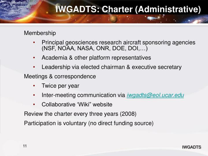 IWGADTS: Charter (Administrative)