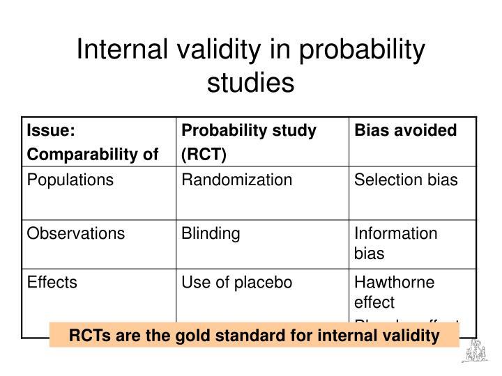 Internal validity in probability studies