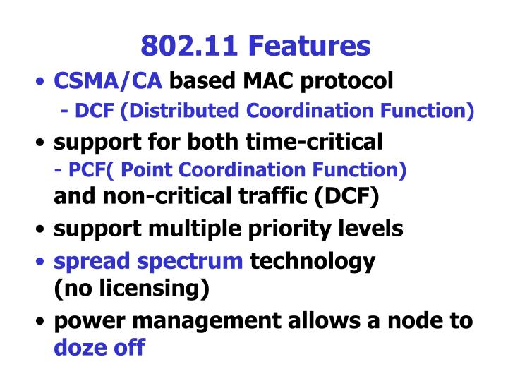 802.11 Features