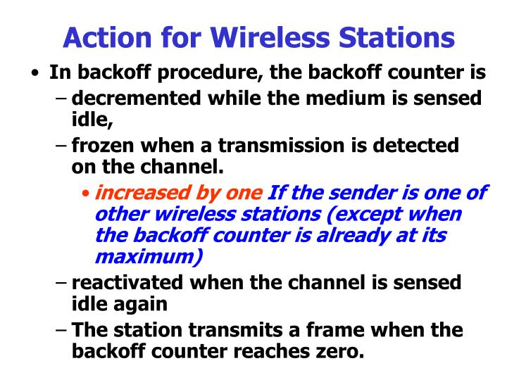 Action for Wireless Stations