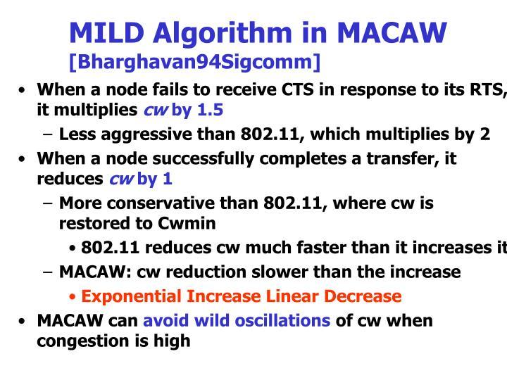 MILD Algorithm in MACAW