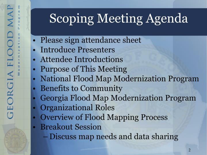 Ppt the georgia flood map modernization program powerpoint scoping meeting agenda publicscrutiny Gallery