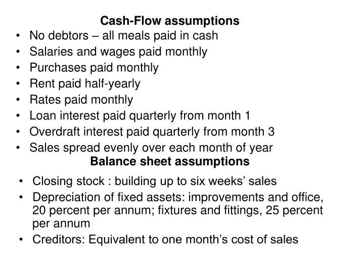 Cash-Flow assumptions
