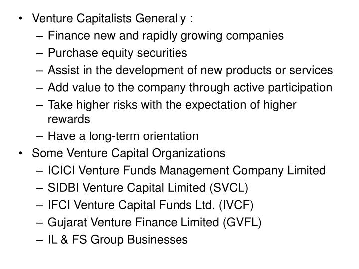 Venture Capitalists Generally :