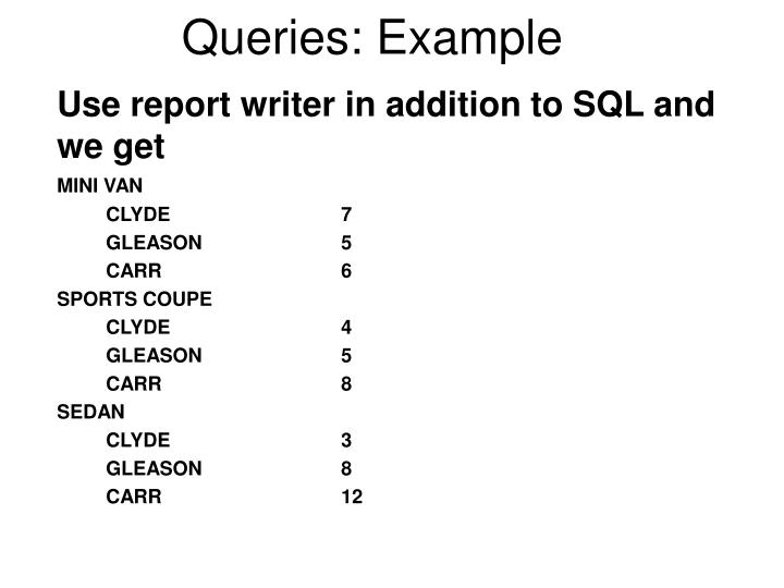 Queries: Example