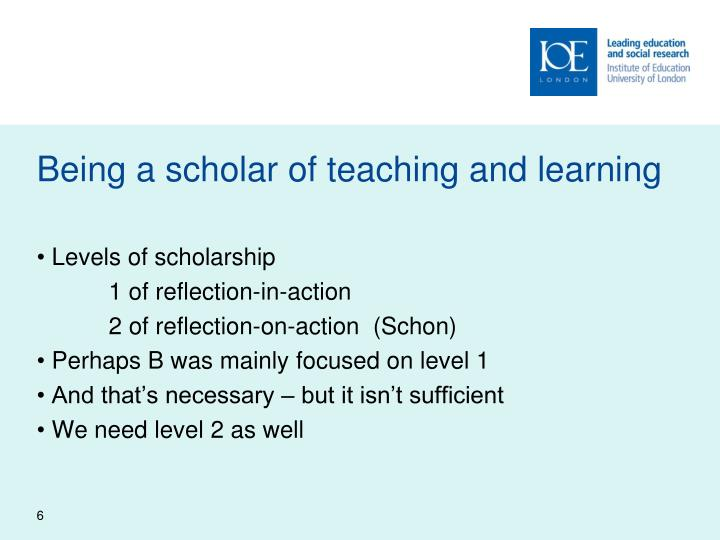 Being a scholar of teaching and learning