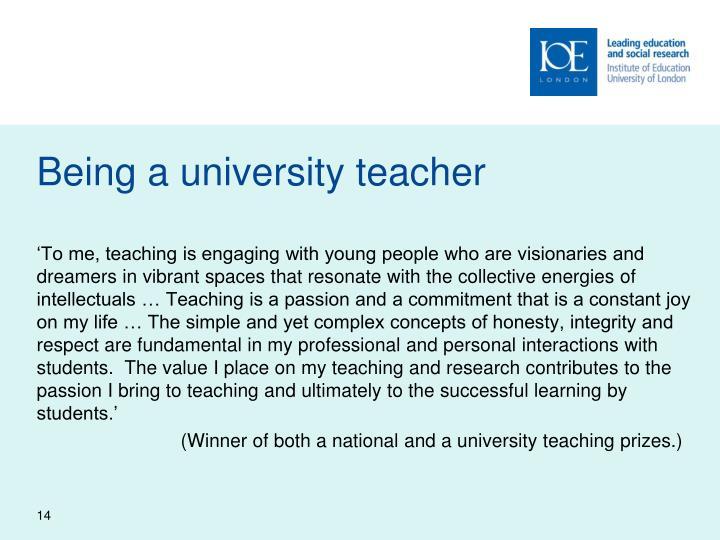 Being a university teacher