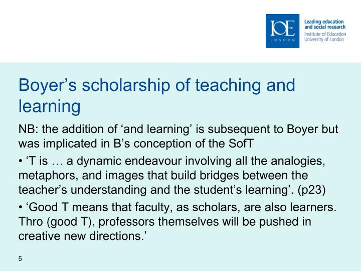 Boyer's scholarship of teaching and learning