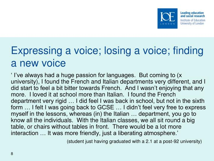 Expressing a voice; losing a voice; finding a new voice