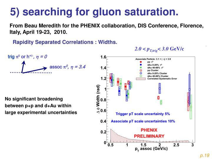 5) searching for gluon saturation.