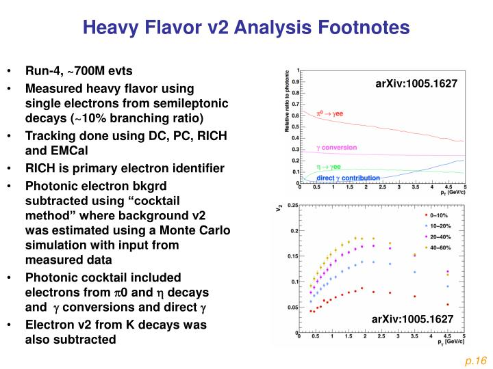 Heavy Flavor v2 Analysis Footnotes