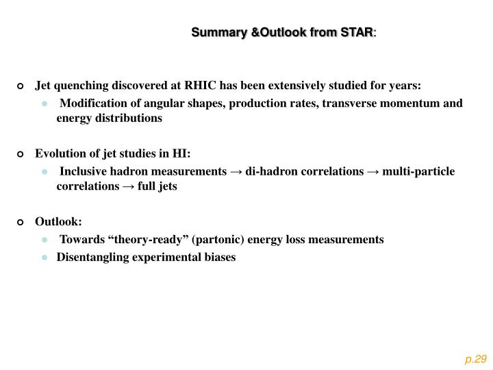 Summary &Outlook from STAR