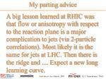 my parting advice