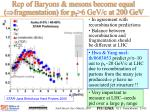 rcp of baryons mesons become equal fragmentation for p t 6 gev c at 200 gev