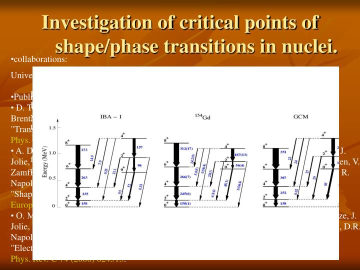 Investigation of critical points of shape/phase transitions in nuclei.