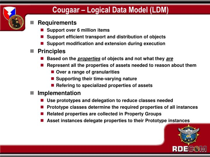 Cougaar – Logical Data Model (LDM)