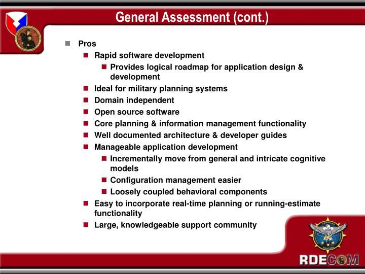 General Assessment (cont.)