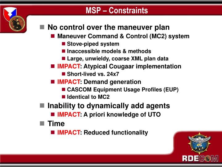 MSP – Constraints