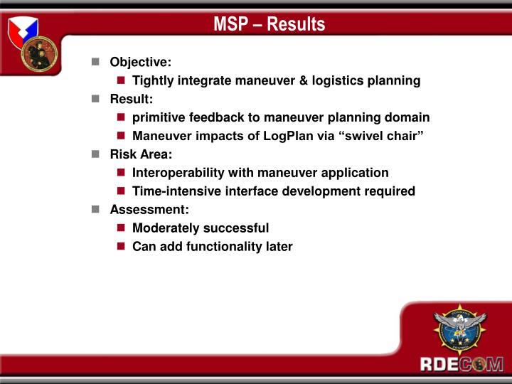 MSP – Results