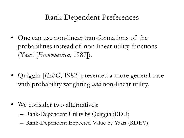 Rank-Dependent Preferences