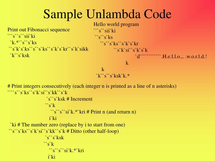 Sample Unlambda Code