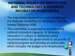 national policy on innovation and technology business incubator in indonesia