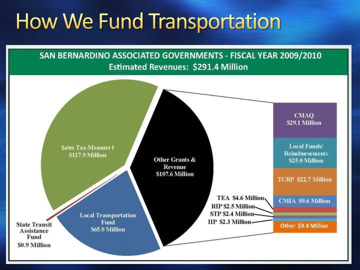 How We Fund Transportation