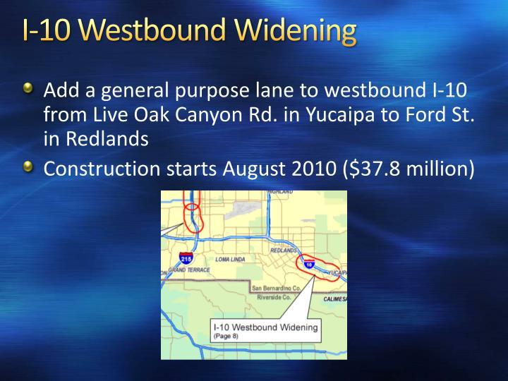I-10 Westbound Widening