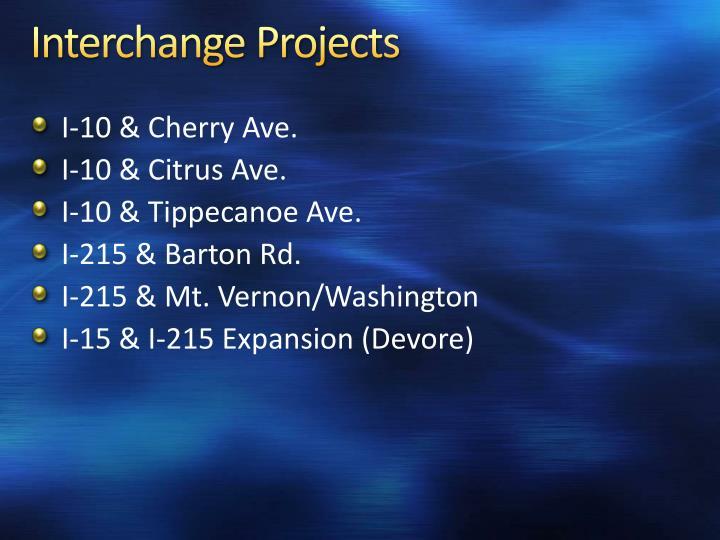 Interchange Projects