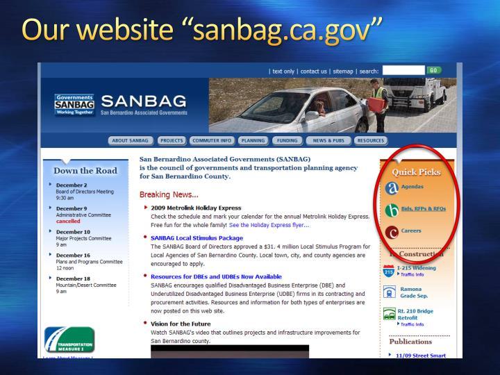 """Our website """"sanbag.ca.gov"""""""
