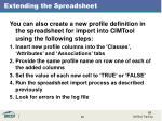 extending the spreadsheet