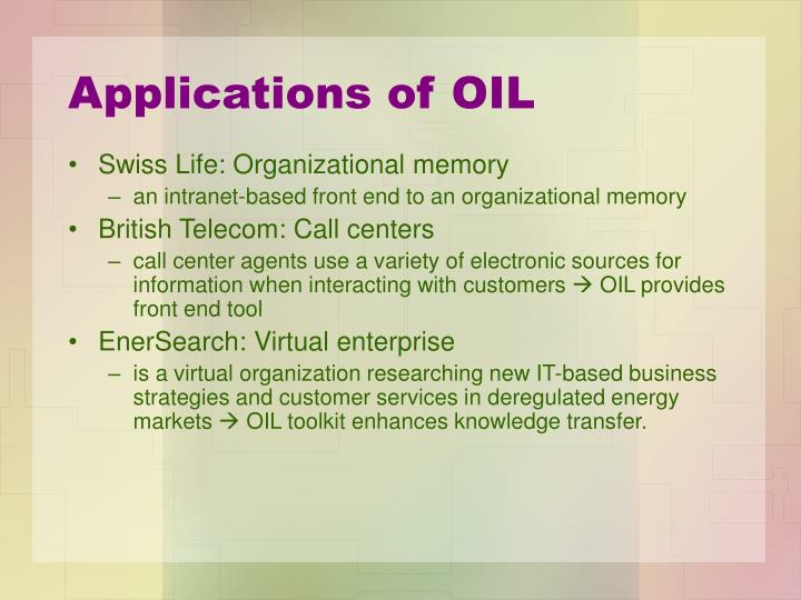 Applications of OIL