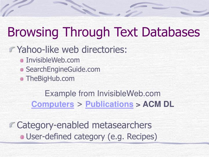 Browsing Through Text Databases