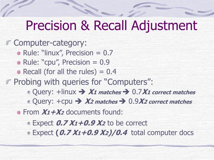 Precision & Recall Adjustment