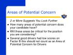 areas of potential concern