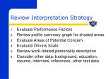 review interpretation strategy