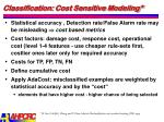classification cost sensitive modeling