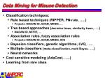 data mining for misuse detection
