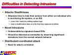 difficulties in detecting intrusions