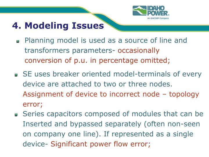 4. Modeling Issues