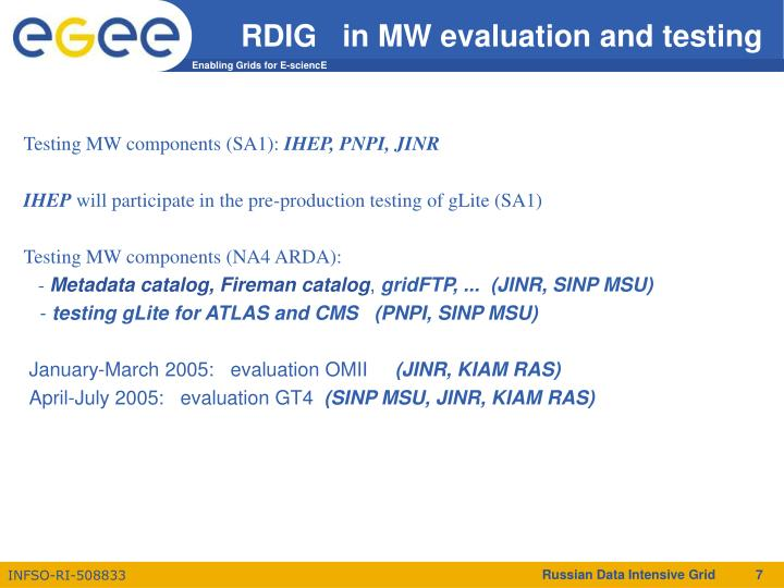 RDIG   in MW evaluation and testing