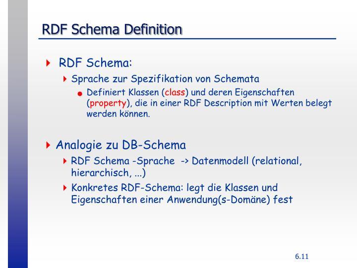 RDF Schema Definition
