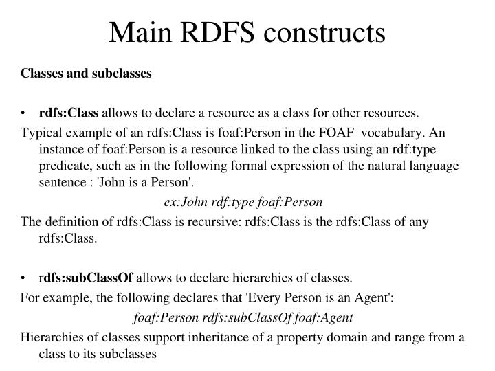Main RDFS constructs