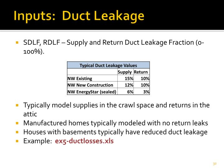 Inputs:  Duct Leakage