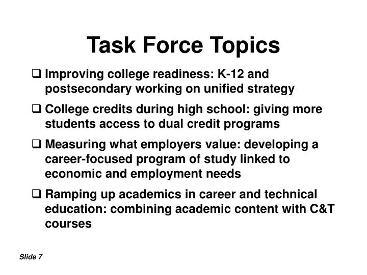 Task Force Topics