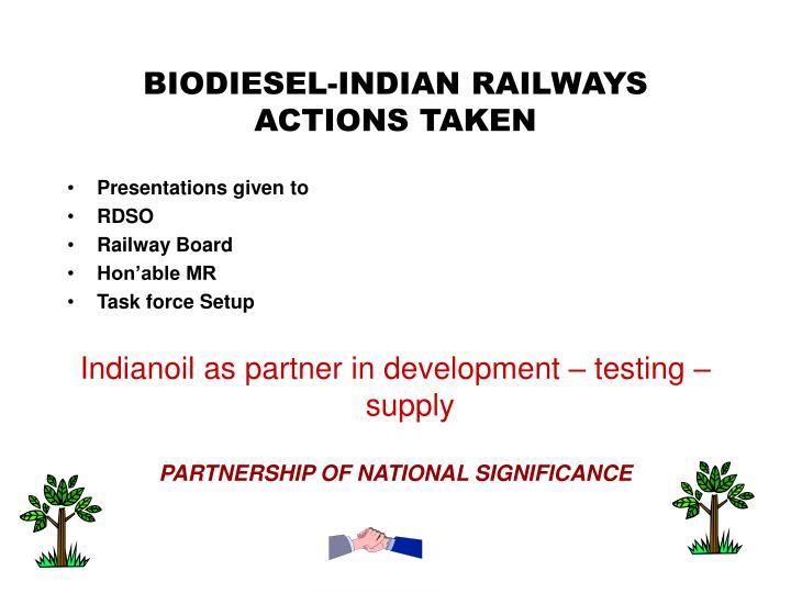 BIODIESEL-INDIAN RAILWAYS