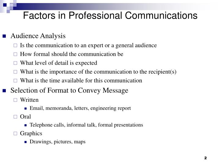 Factors in professional communications
