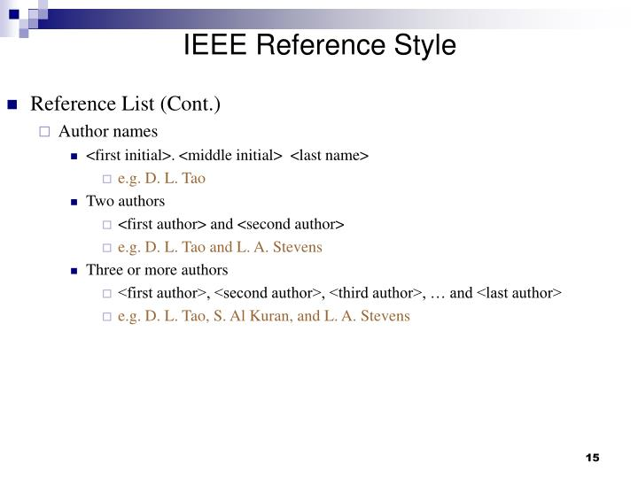 IEEE Reference Style