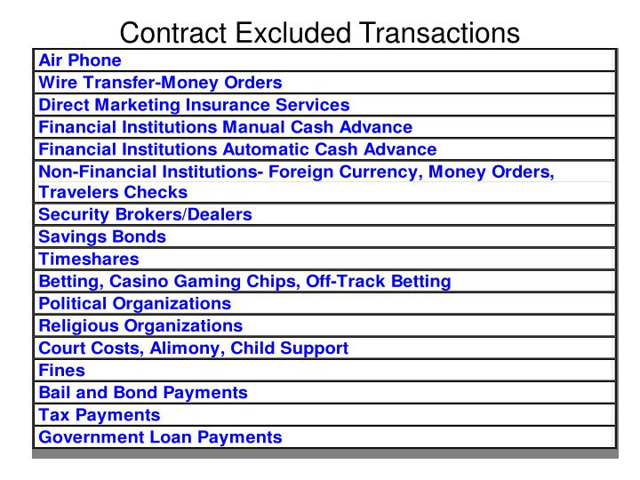 Contract Excluded Transactions