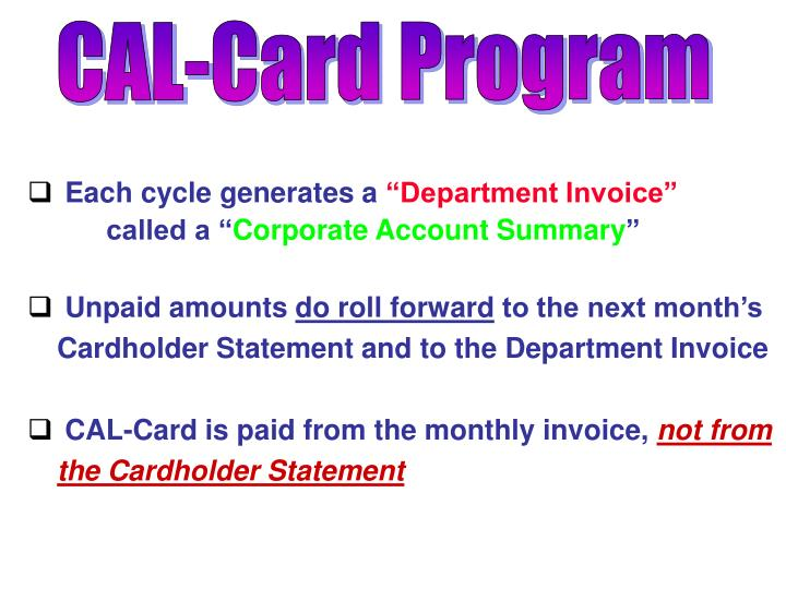 CAL-Card Program